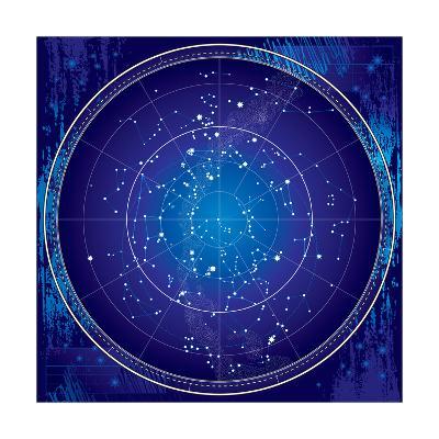 Celestial Map of the Night Sky-Green Ocean-Art Print