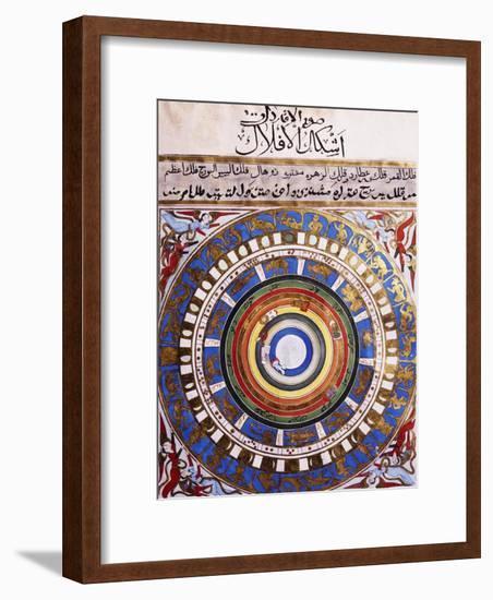 Celestial Map or Macrocosm from Ptolemaic Model, Miniature from Zubdat-Al Tawarikh-Silvestro Lega-Framed Giclee Print