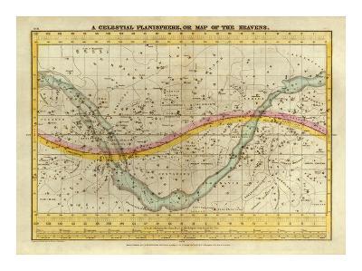 Celestial Planisphere, or Map of the Heavens, c.1835-Elijah H^ Burritt-Art Print