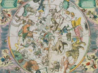 Celestial Planisphere Showing the Signs of the Zodiac-Andreas Cellarius-Giclee Print