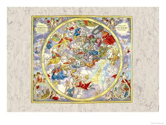 Celestial Sky Chart-Andreas Cellarius-Art Print