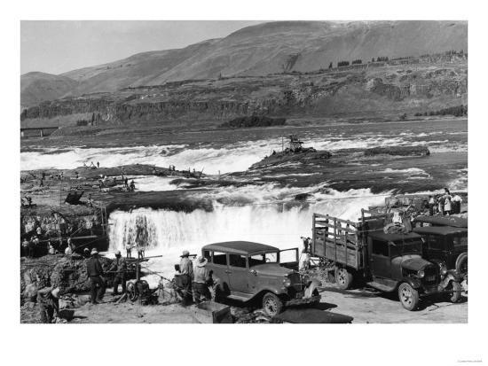 Celilo Falls, Oregon Columbia Gorge Indians Fishing Photograph No.1 - Celilo Falls, OR-Lantern Press-Art Print