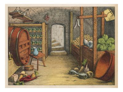 Cellar with Vegetables, Wine Racks and Beer Barrel--Giclee Print