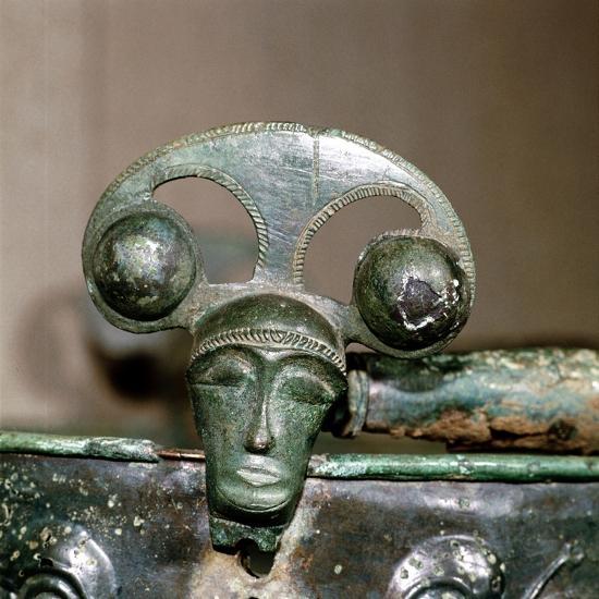 Celtic bronze head on bucket, Aylesford, Kent, England, c1st century BC. Artist: Unknown-Unknown-Giclee Print