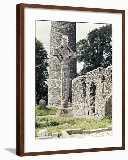 Celtic Cross and Round Tower in Monasterboice Monastic Site, County Louth, Ireland, 10th Century--Framed Photographic Print