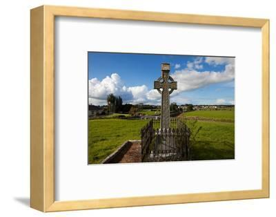 Celtic Cross Overlooking the Green Fields, Athenry, County Galway, Ireland