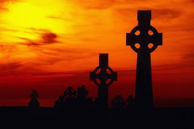 Celtic Crosses Silhouetted at Sunset-Carl Purcell-Photographic Print