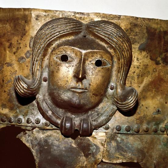 Celtic human head on Bronze cauldron, Rynkeby Bog, Denmark, 4th century BC. Artist: Unknown-Unknown-Giclee Print