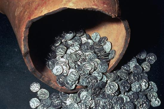 Celtic silver coins from a hoard. Artist: Unknown-Unknown-Giclee Print