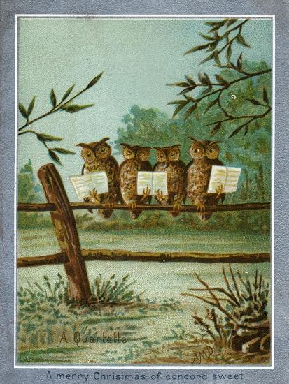Center Warshaw Collection of Business Americana Series: A Quartette of 4 Owls on fence--Art Print