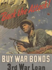 Center Warshaw Collection, Treasury Poster. Back the Attack! BUY WAR BONDS