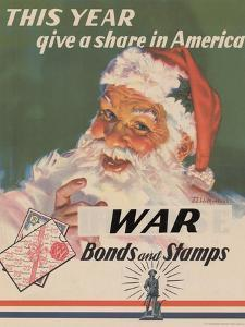 Center Warshaw Collection, U.S. Treasury Poster. Give a Share in America. WAR Bonds and Stamps