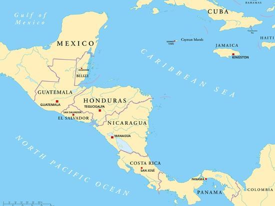 Central America Political Map Art Print by Peter Hermes Furian   Art.com