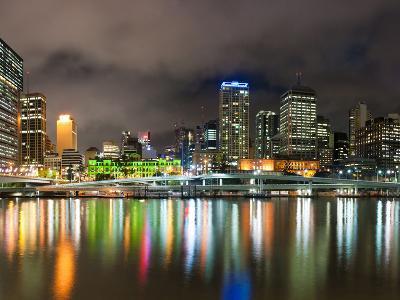 Central Business District City Skyline at Night Taken from Southbank of Brisbane, Australia-Matthew Williams-Ellis-Photographic Print