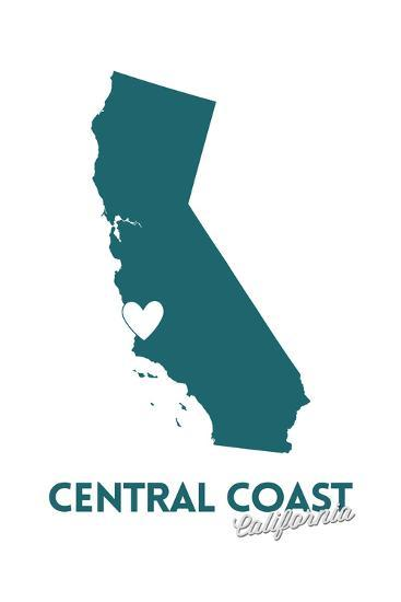 Central Coast, California - State Outline and Heart (Dark Blue)-Lantern Press-Art Print