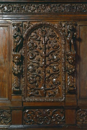 Central Compartment of Walnut Sacristy Sideboard, Italy, Detail--Giclee Print