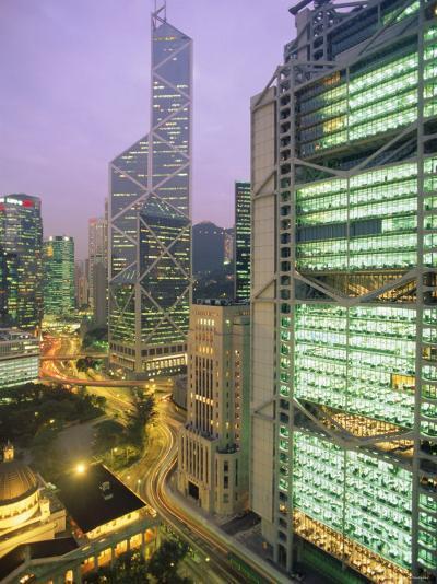 Central from Princes Building, Legco Bank of China, Hk Bank, Hong Kong, China, Asia-Tim Hall-Photographic Print
