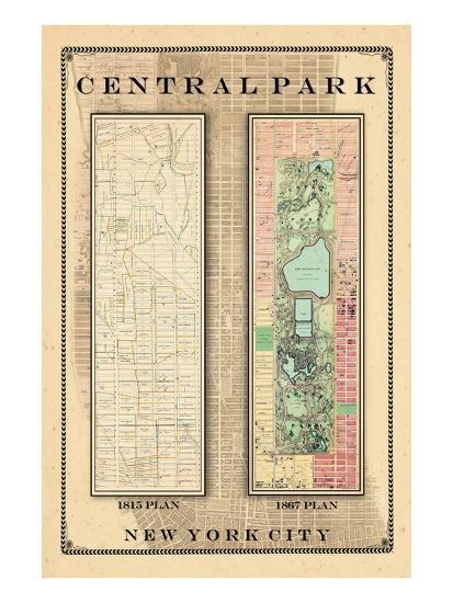 Central Park Development Composition 1815-1867, New York, United States, 1867--Premium Giclee Print