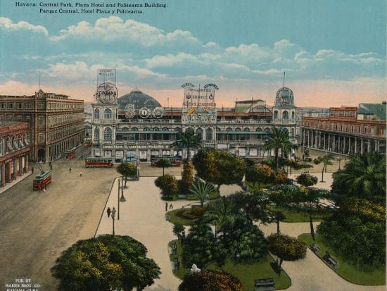 Central Park, Plaza Hotel and Politeama Building, Havana, Cuba, c1920-Unknown-Photographic Print