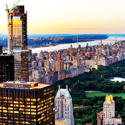 Central Park with Skyscrapers and Upper West Side Manhattan View at Sunset, New York-Philippe Hugonnard-Photographic Print