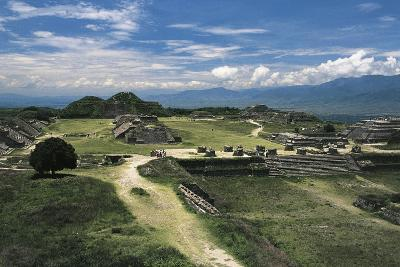 Central Square and View of Archaeological Site of Monte Alban--Photographic Print