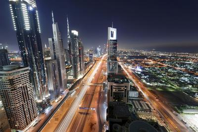 Centre of Dubai City, Panorama, Skyline, Evening Mood at Persian Gulf, Traffic-Axel Schmies-Photographic Print