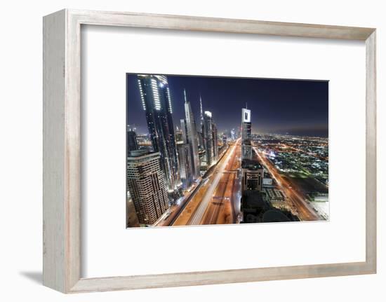 Centre of Dubai City, Panorama, Skyline, Evening Mood at Persian Gulf, Traffic-Axel Schmies-Framed Photographic Print