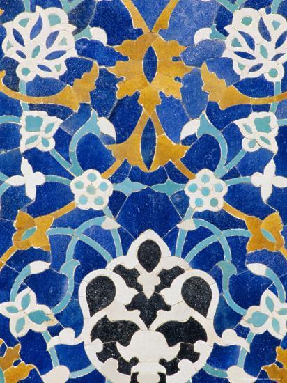 Ceramic Detail on Mir-I-Arab Madressa (Madrasa), Bukhara, Uzbekistan, Central Asia-Upperhall Ltd-Photographic Print