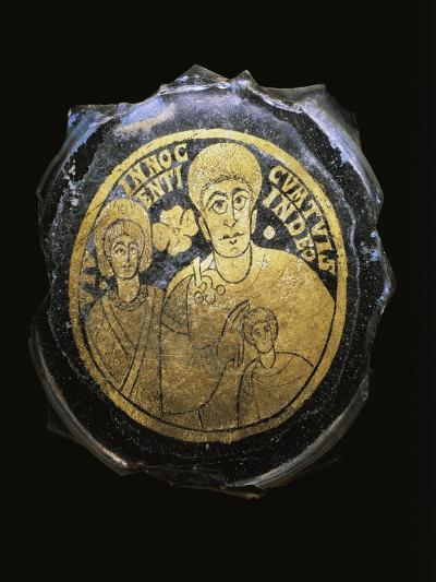 Ceramic Fragment with Gold Decorations Depicting Family, Artifact Uncovered in Dunaszeksco--Giclee Print