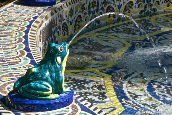 Ceramic Frog Spitting Out Water, Frogs Fountain, Maria Luisa Park, Seville, Andalusia, Spain-Guy Thouvenin-Photographic Print