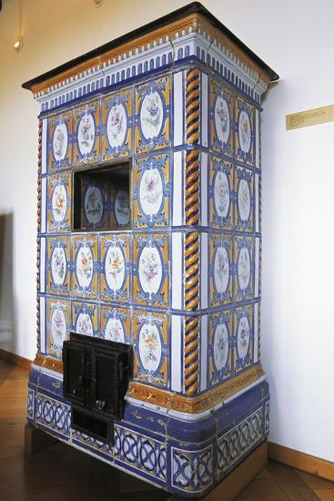 Ceramic Stove Top, 18th Century Inside Chateau of Montbeliard, Franche-Comte, France--Photographic Print