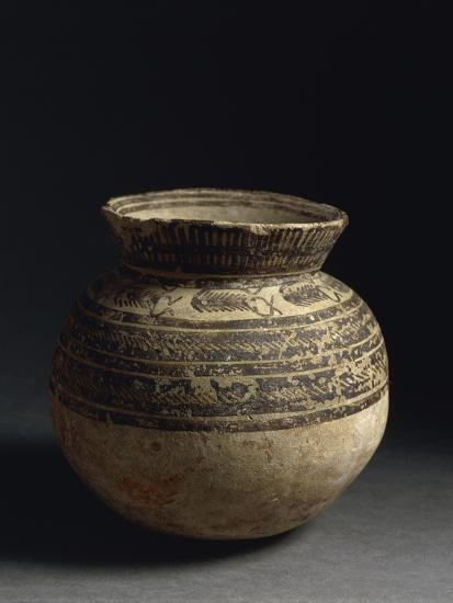 Ceramic Vase Painted with Geometric Pattern, from Tell Hassan, Late 5th Millennium BC--Giclee Print
