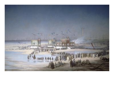 Cérémonie d'inauguration du canal de Suez à Port-Saïd, le 17 novembre 1869.-?douard Riou-Giclee Print