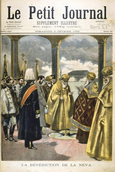 Ceremony of Blessing the River Neva, St Petersburg, by Russian Orthodox Priests, 1895--Giclee Print