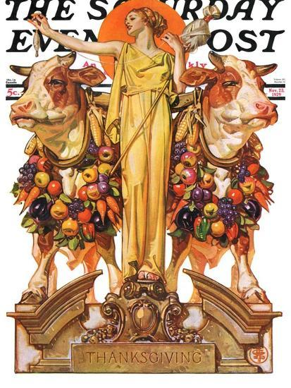 """""""Ceres and the Harvest,"""" Saturday Evening Post Cover, November 23, 1929-Joseph Christian Leyendecker-Giclee Print"""