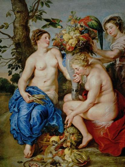 Ceres and Two Nymphs, Animals and Fruit by Snyders, Painted Between 1620-28-Peter Paul Rubens-Giclee Print