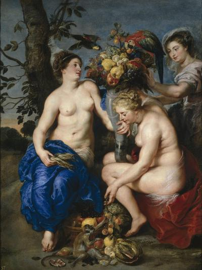 Ceres with Two Nymphs, 1615-7-Peter Paul and Snyders, Frans Rubens-Giclee Print