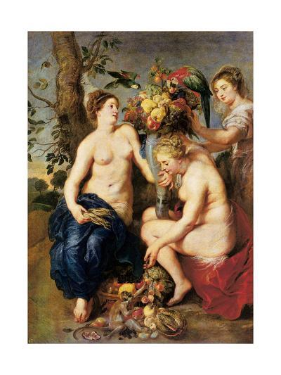 Ceres with Two Nymphs, C.1624-Peter Paul and Snyders, Frans Rubens-Giclee Print