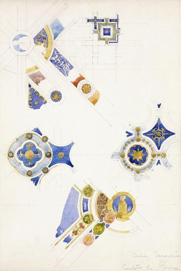 Certosa Di Pavia, Studies of the Ceiling Decoration, 1891-Charles Rennie Mackintosh-Giclee Print