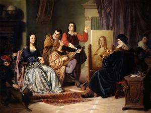 Leonardo Da Vinci Painting the Mona Lisa by Cesare Maccari
