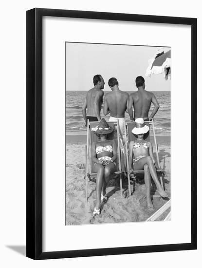 Cesenatico: the happy life on an Italian beach,1960.-Erich Lessing-Framed Photographic Print