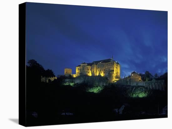 Cesky Sternberk Castle at Night, Czech Republic--Stretched Canvas Print