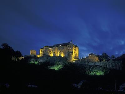 Cesky Sternberk Castle at Night, Czech Republic--Photographic Print