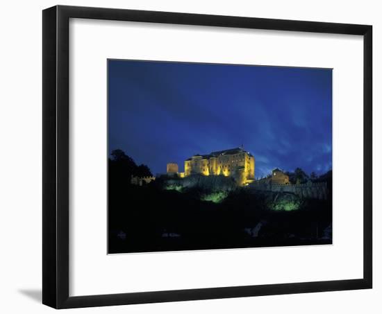 Cesky Sternberk Castle at Night, Czech Republic--Framed Photographic Print