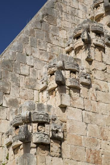 Chac Rain God Stone Masks, Pyramid of the Magician, Uxmal-Richard Maschmeyer-Photographic Print