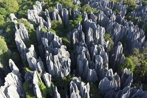 An Aerial View of Limestone Karst Formations in Stone Forest by Chad Copeland
