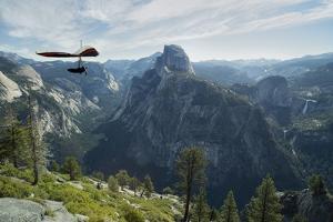 Hang Glider Flying over the Half Dome Mountain and Yosemite Valley by Chad Copeland