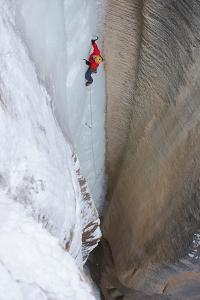 Ice Climber on an Ice Formation in Zion National Park by Chad Copeland