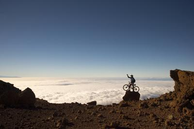 Mountain Biker Above the Clouds in Haleakala National Park