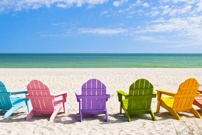 Perfect Adirondack Beach Chairs On A Sun Beach In Front Of A Holiday VacChad  McDermott